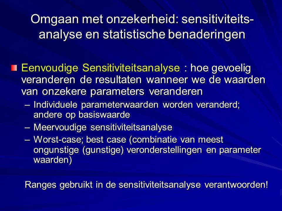 Omgaan met onzekerheid: sensitiviteits- analyse en statistische benaderingen Eenvoudige Sensitiviteitsanalyse : hoe gevoelig veranderen de resultaten