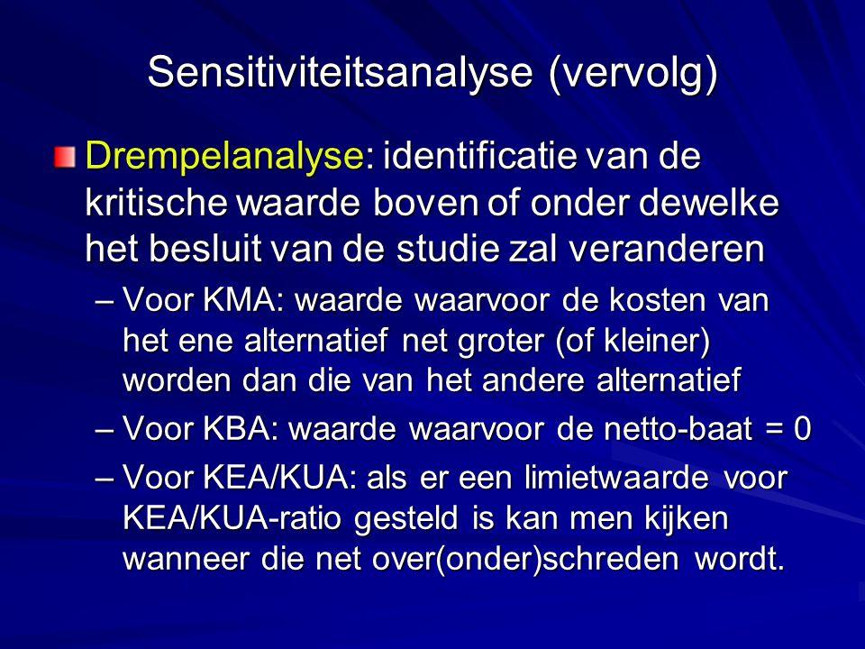 Sensitiviteitsanalyse (vervolg) Drempelanalyse: identificatie van de kritische waarde boven of onder dewelke het besluit van de studie zal veranderen