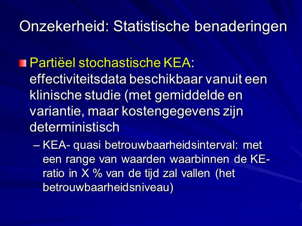 Onzekerheid: Statistische benaderingen Partiëel stochastische KEA: effectiviteitsdata beschikbaar vanuit een klinische studie (met gemiddelde en varia