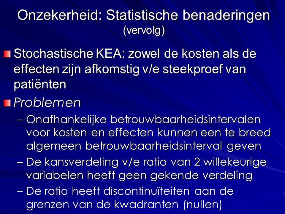 Stochastische KEA: zowel de kosten als de effecten zijn afkomstig v/e steekproef van patiënten Problemen –Onafhankelijke betrouwbaarheidsintervalen vo