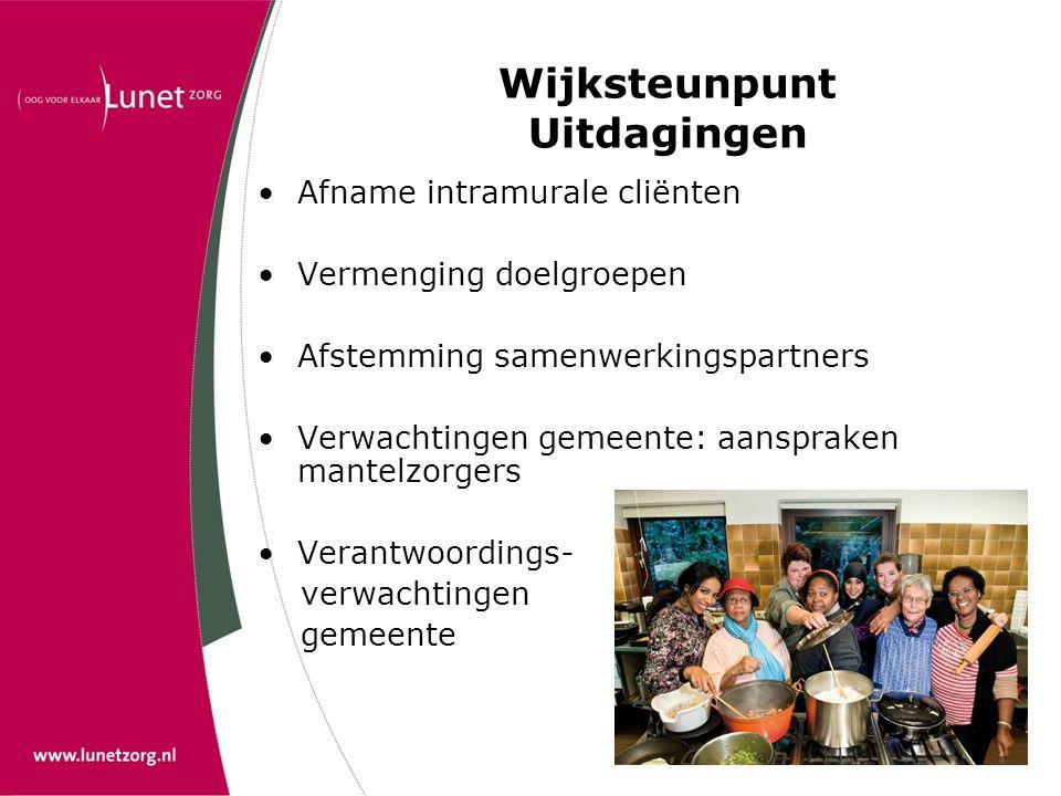 Wijksteunpunt Uitdagingen •Afname intramurale cliënten •Vermenging doelgroepen •Afstemming samenwerkingspartners •Verwachtingen gemeente: aanspraken m