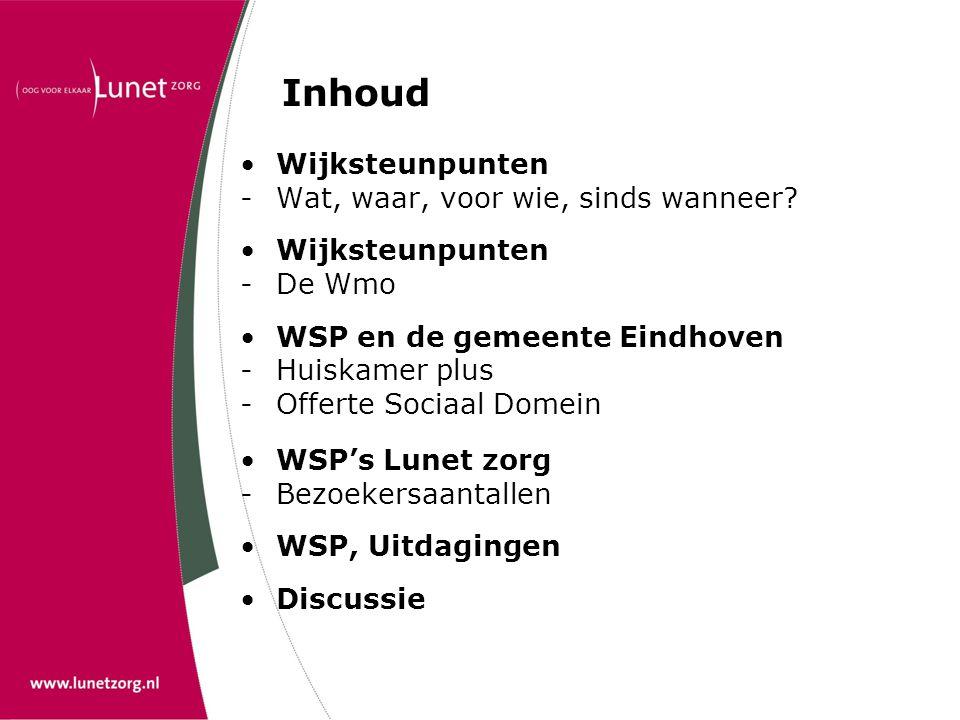 Inhoud •Wijksteunpunten -Wat, waar, voor wie, sinds wanneer? •Wijksteunpunten - De Wmo •WSP en de gemeente Eindhoven -Huiskamer plus -Offerte Sociaal