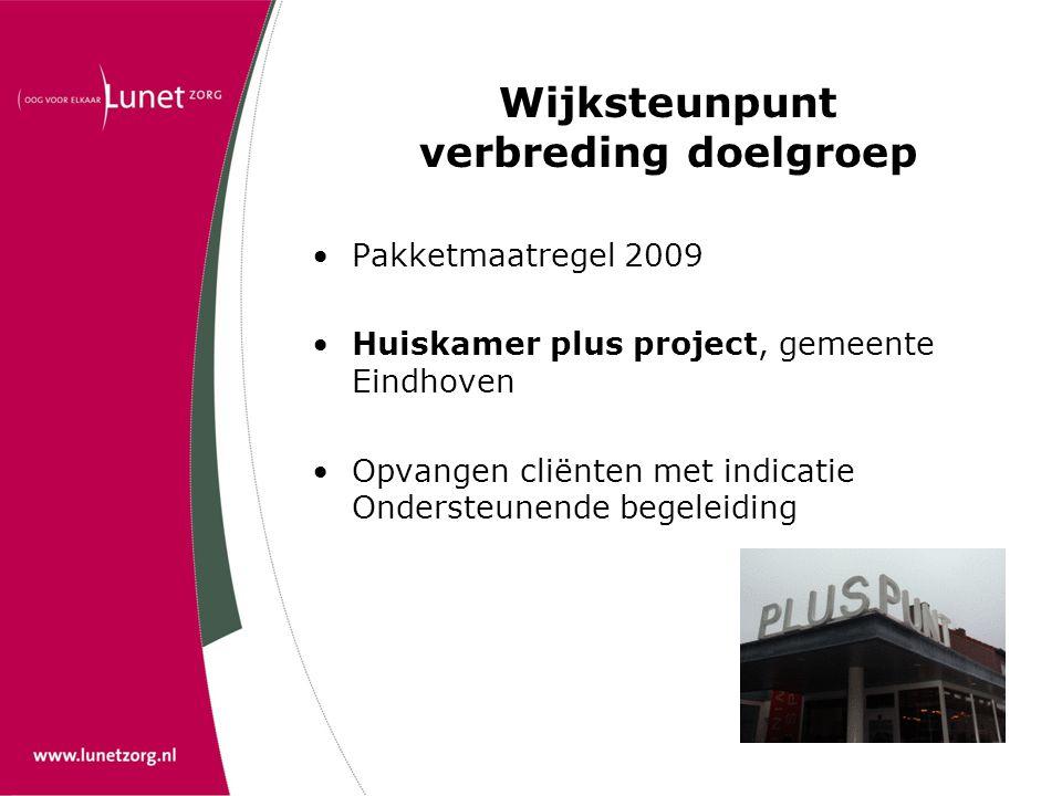 Wijksteunpunt verbreding doelgroep •Pakketmaatregel 2009 •Huiskamer plus project, gemeente Eindhoven •Opvangen cliënten met indicatie Ondersteunende b