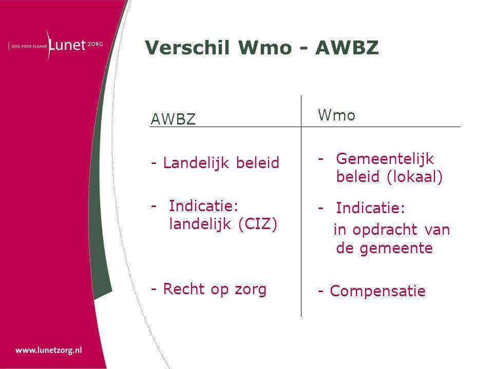 Verschil Wmo - AWBZ AWBZ - Landelijk beleid -Indicatie: landelijk (CIZ) - Recht op zorg Wmo -Gemeentelijk beleid (lokaal) -Indicatie: in opdracht van