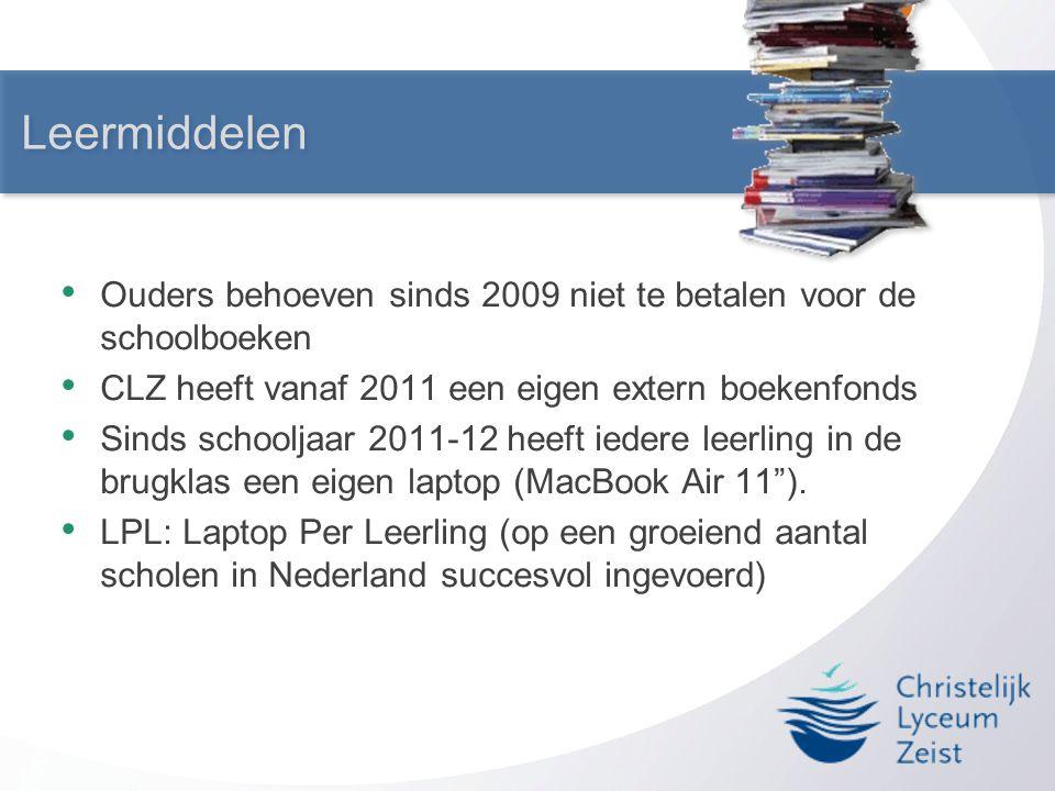 Leermiddelen • Ouders behoeven sinds 2009 niet te betalen voor de schoolboeken • CLZ heeft vanaf 2011 een eigen extern boekenfonds • Sinds schooljaar