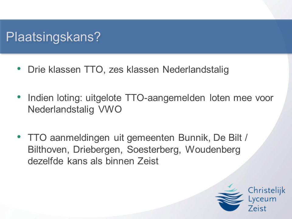 Plaatsingskans? • Drie klassen TTO, zes klassen Nederlandstalig • Indien loting: uitgelote TTO-aangemelden loten mee voor Nederlandstalig VWO • TTO aa