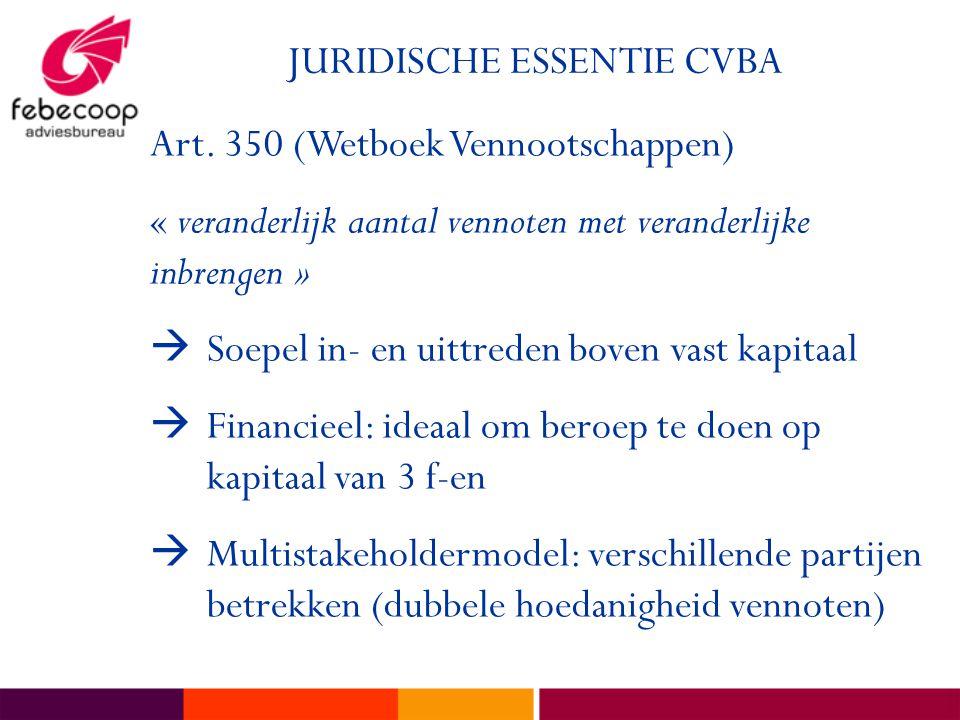 JURIDISCHE ESSENTIE CVBA Art. 350 (Wetboek Vennootschappen) « veranderlijk aantal vennoten met veranderlijke inbrengen »  Soepel in- en uittreden bov