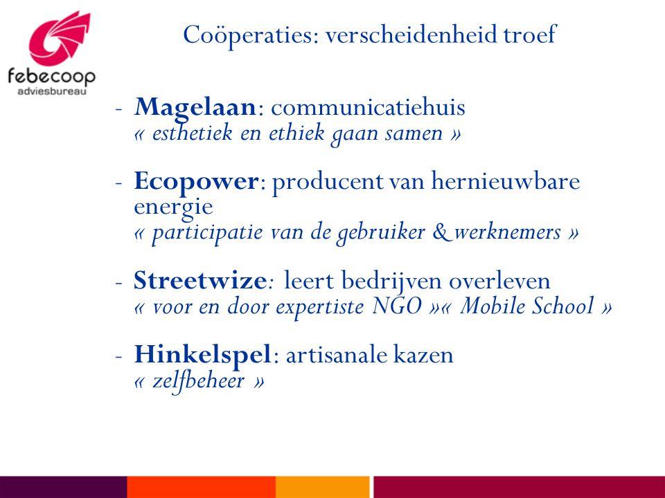 Coöperaties: verscheidenheid troef -Magelaan: communicatiehuis « esthetiek en ethiek gaan samen » -Ecopower: producent van hernieuwbare energie « part