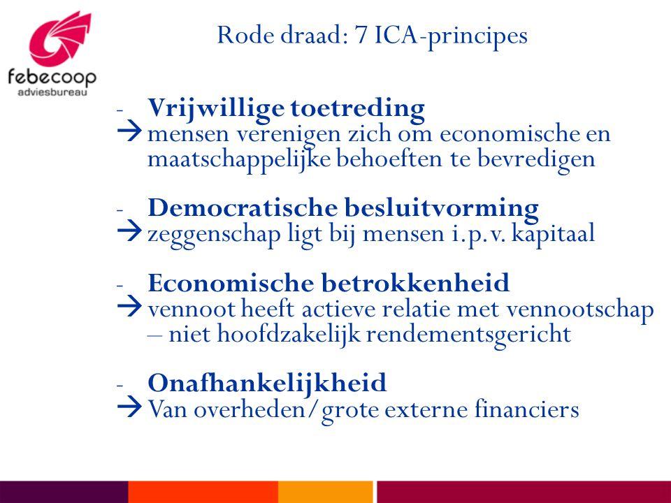 Rode draad: 7 ICA-principes -Vrijwillige toetreding  mensen verenigen zich om economische en maatschappelijke behoeften te bevredigen -Democratische besluitvorming  zeggenschap ligt bij mensen i.p.v.