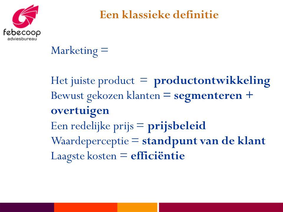 Marketing = Het juiste product = productontwikkeling Bewust gekozen klanten = segmenteren + overtuigen Een redelijke prijs = prijsbeleid Waardeperceptie = standpunt van de klant Laagste kosten = efficiëntie Een klassieke definitie