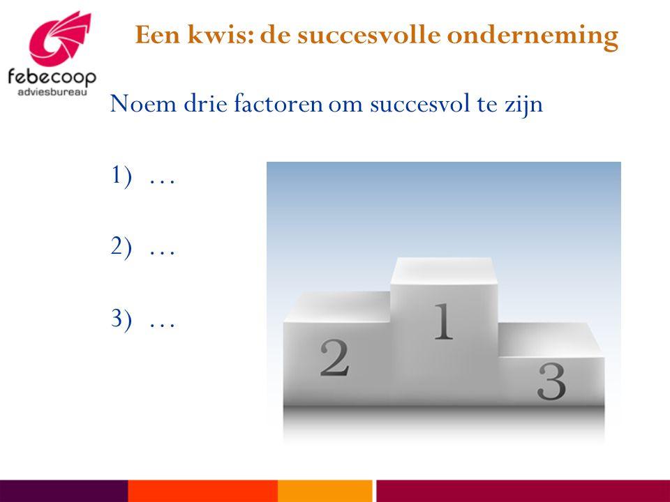 Een kwis: de succesvolle onderneming Noem drie factoren om succesvol te zijn 1)… 2)… 3)…