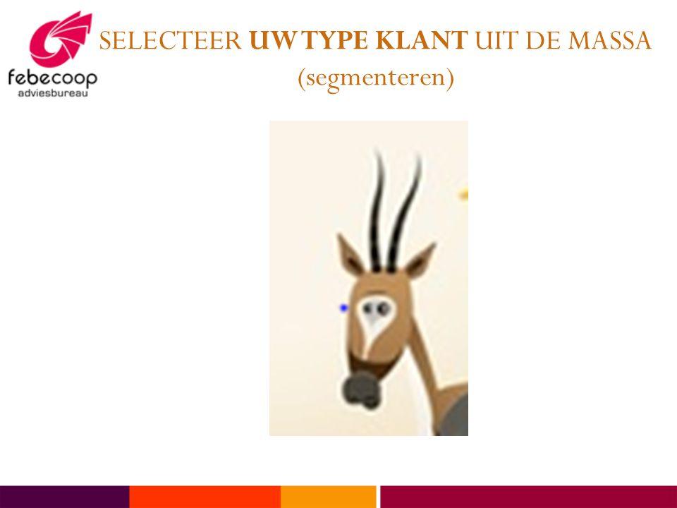 SELECTEER UW TYPE KLANT UIT DE MASSA (segmenteren)