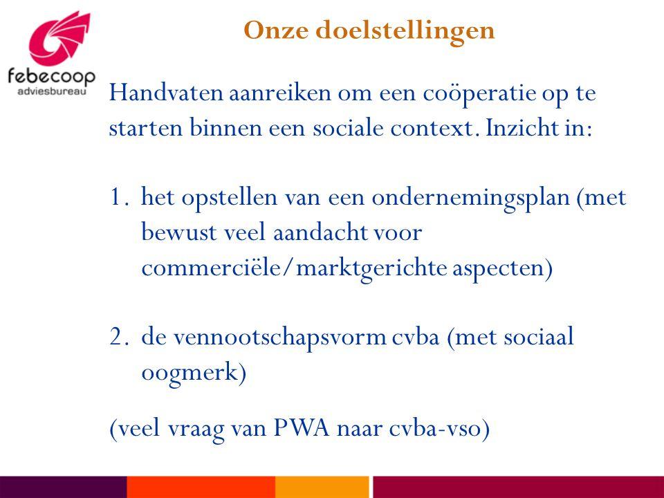 Onze doelstellingen Handvaten aanreiken om een coöperatie op te starten binnen een sociale context. Inzicht in: 1.het opstellen van een ondernemingspl
