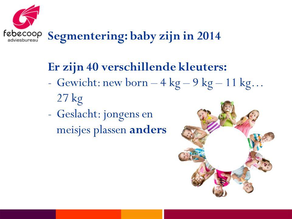Segmentering: baby zijn in 2014 Er zijn 40 verschillende kleuters: -Gewicht: new born – 4 kg – 9 kg – 11 kg… 27 kg -Geslacht: jongens en meisjes plassen anders