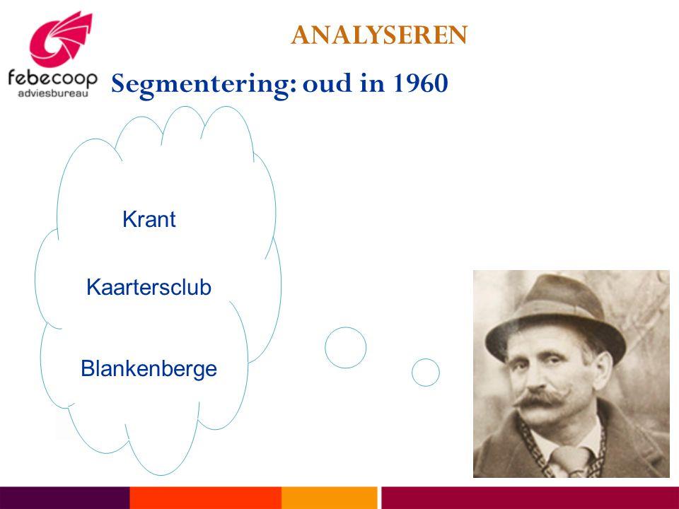 ANALYSEREN Segmentering: oud in 1960 Krant Kaartersclub Blankenberge