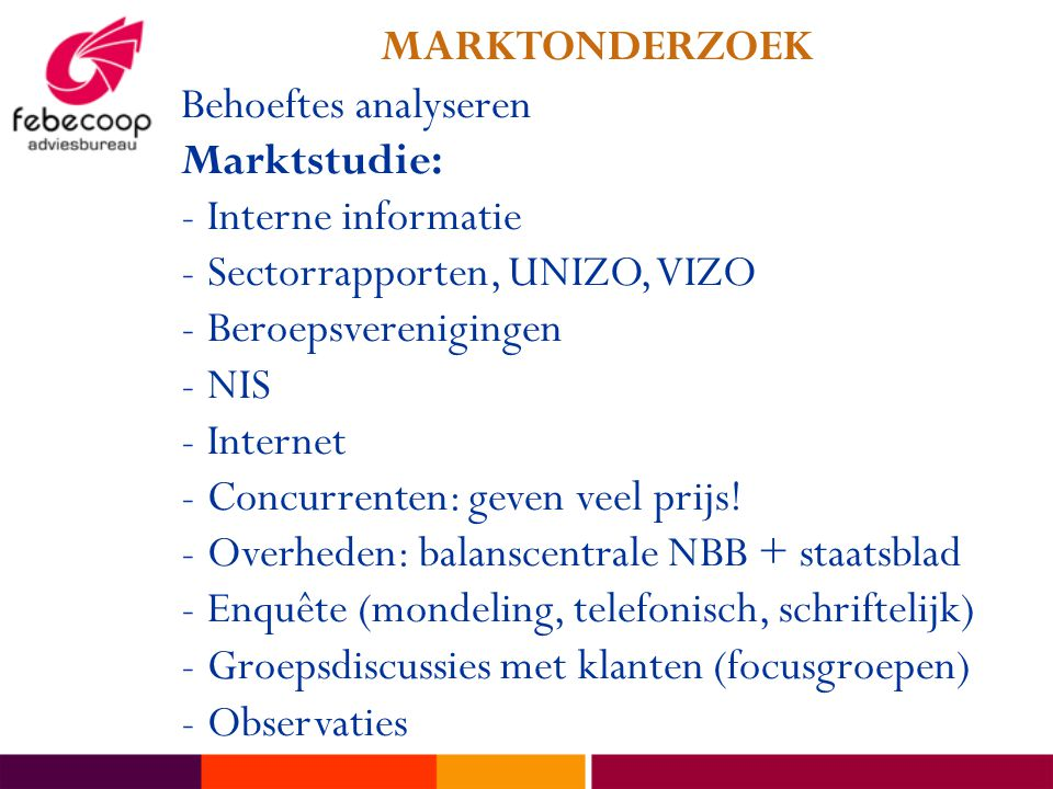 Behoeftes analyseren Marktstudie: -Interne informatie -Sectorrapporten, UNIZO, VIZO -Beroepsverenigingen -NIS -Internet -Concurrenten: geven veel prij