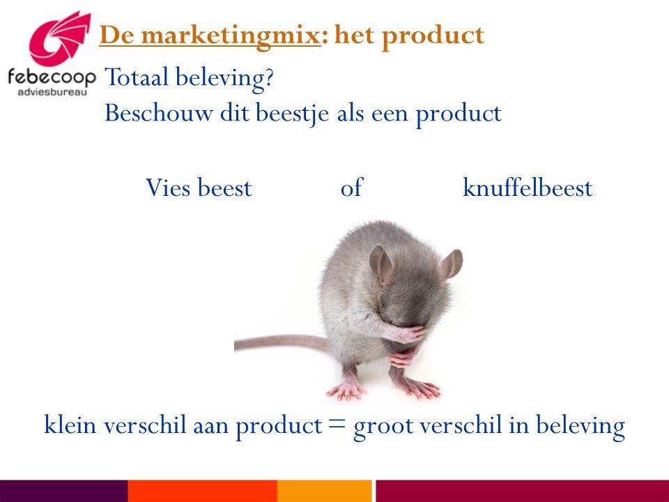 De marketingmix: het product Totaal beleving? Beschouw dit beestje als een product Vies beest of knuffelbeest klein verschil aan product = groot versc