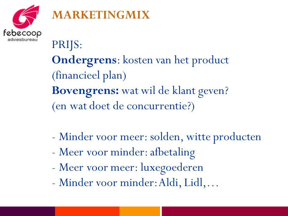 MARKETINGMIX PRIJS: Ondergrens: kosten van het product (financieel plan) Bovengrens: wat wil de klant geven? (en wat doet de concurrentie?) -Minder vo