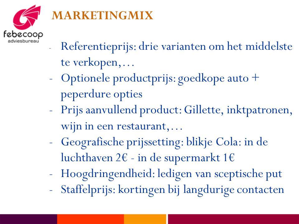 MARKETINGMIX - Referentieprijs: drie varianten om het middelste te verkopen,… -Optionele productprijs: goedkope auto + peperdure opties -Prijs aanvullend product: Gillette, inktpatronen, wijn in een restaurant,… -Geografische prijssetting: blikje Cola: in de luchthaven 2€ - in de supermarkt 1€ -Hoogdringendheid: ledigen van sceptische put -Staffelprijs: kortingen bij langdurige contacten