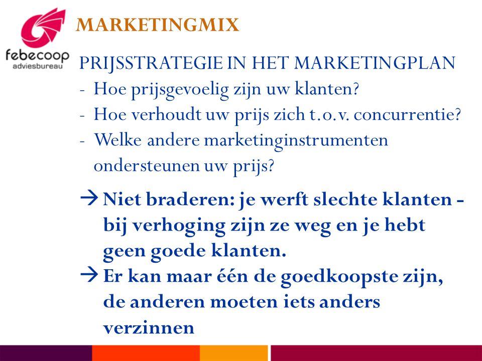 MARKETINGMIX PRIJSSTRATEGIE IN HET MARKETINGPLAN -Hoe prijsgevoelig zijn uw klanten? -Hoe verhoudt uw prijs zich t.o.v. concurrentie? -Welke andere ma