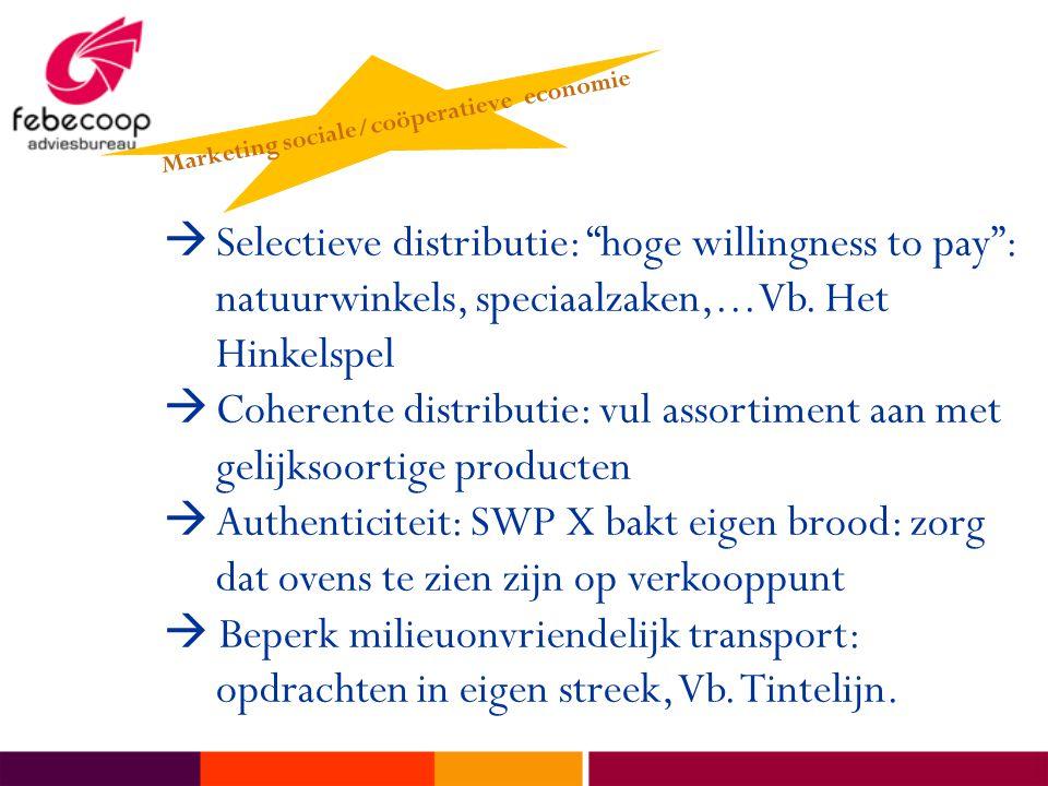 """ Selectieve distributie: """"hoge willingness to pay"""": natuurwinkels, speciaalzaken,... Vb. Het Hinkelspel  Coherente distributie: vul assortiment aan"""