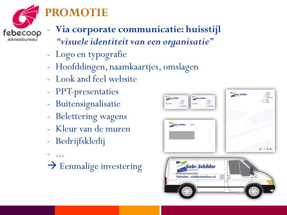 """PROMOTIE -Via corporate communicatie: huisstijl """"visuele identiteit van een organisatie"""" -Logo en typografie -Hoofddingen, naamkaartjes, omslagen -Loo"""