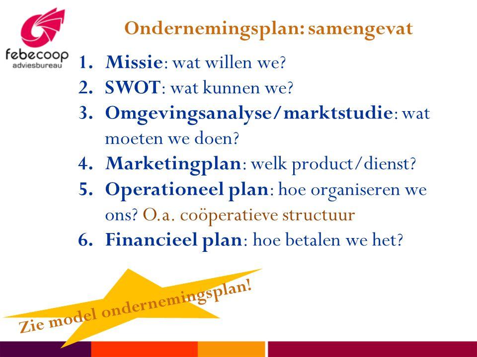Ondernemingsplan: samengevat 1.Missie: wat willen we? 2.SWOT: wat kunnen we? 3.Omgevingsanalyse/marktstudie: wat moeten we doen? 4.Marketingplan: welk