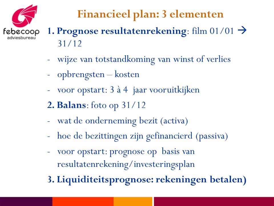Financieel plan: 3 elementen 1.