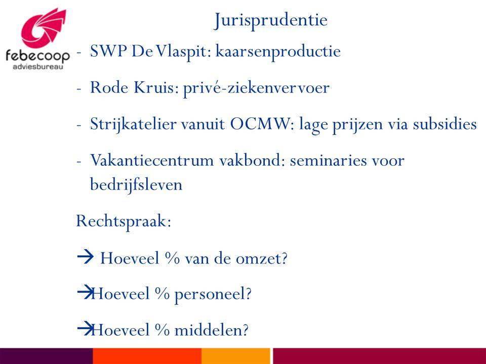 Jurisprudentie -SWP De Vlaspit: kaarsenproductie -Rode Kruis: privé-ziekenvervoer -Strijkatelier vanuit OCMW: lage prijzen via subsidies -Vakantiecentrum vakbond: seminaries voor bedrijfsleven Rechtspraak:  Hoeveel % van de omzet.