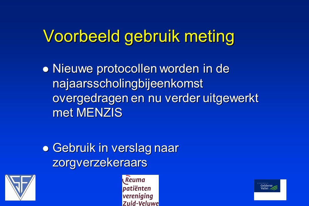 Voorbeeld gebruik meting  Nieuwe protocollen worden in de najaarsscholingbijeenkomst overgedragen en nu verder uitgewerkt met MENZIS  Gebruik in ver