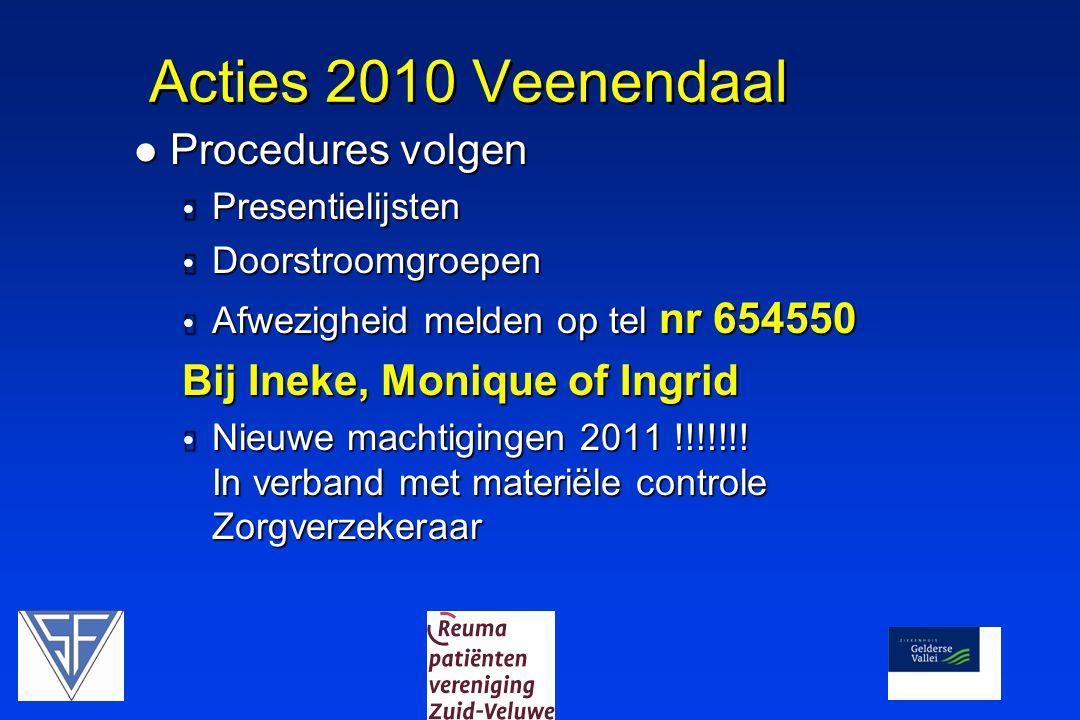 Acties 2010 Veenendaal  Procedures volgen  Presentielijsten  Doorstroomgroepen  Afwezigheid melden op tel nr 654550 Bij Ineke, Monique of Ingrid 