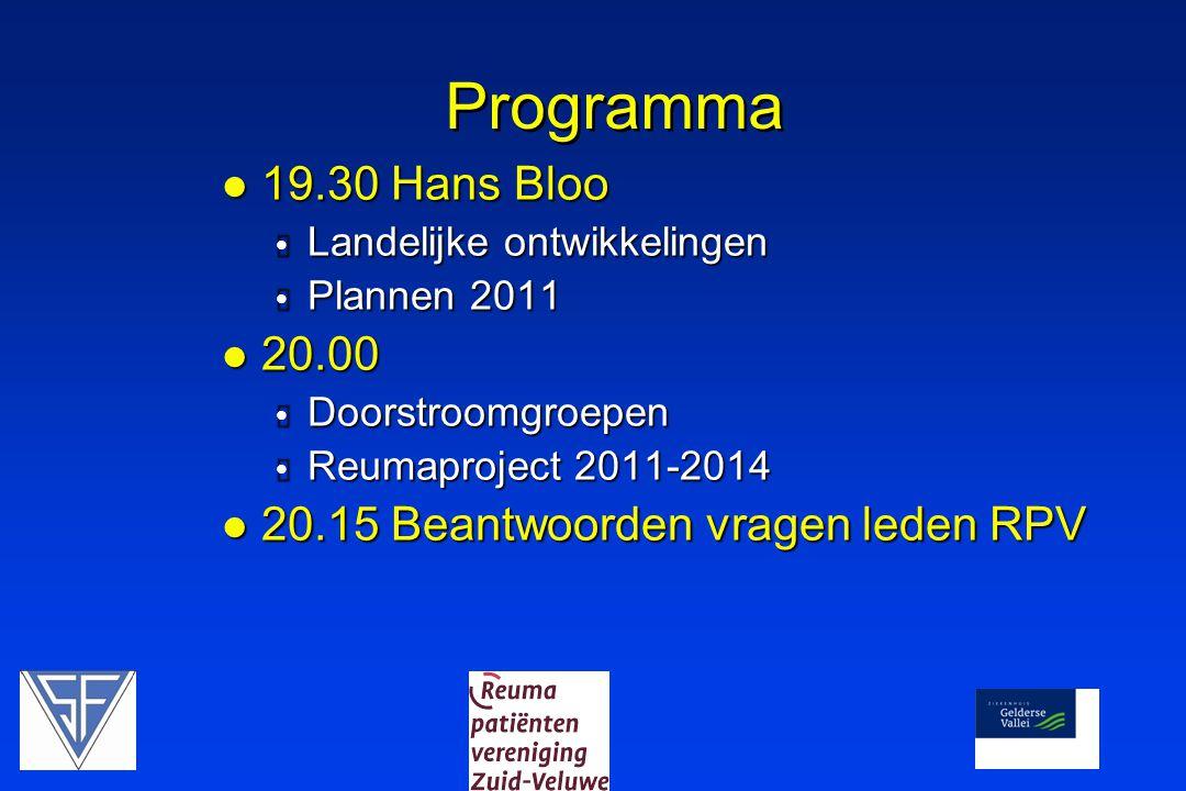 Programma  19.30 Hans Bloo  Landelijke ontwikkelingen  Plannen 2011  20.00  Doorstroomgroepen  Reumaproject 2011-2014  20.15 Beantwoorden vrage