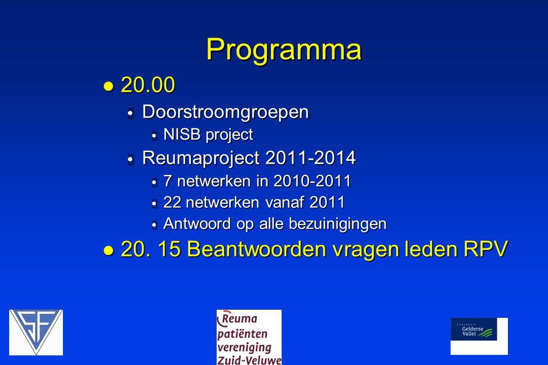 Programma  20.00  Doorstroomgroepen  NISB project  Reumaproject 2011-2014  7 netwerken in 2010-2011  22 netwerken vanaf 2011  Antwoord op alle