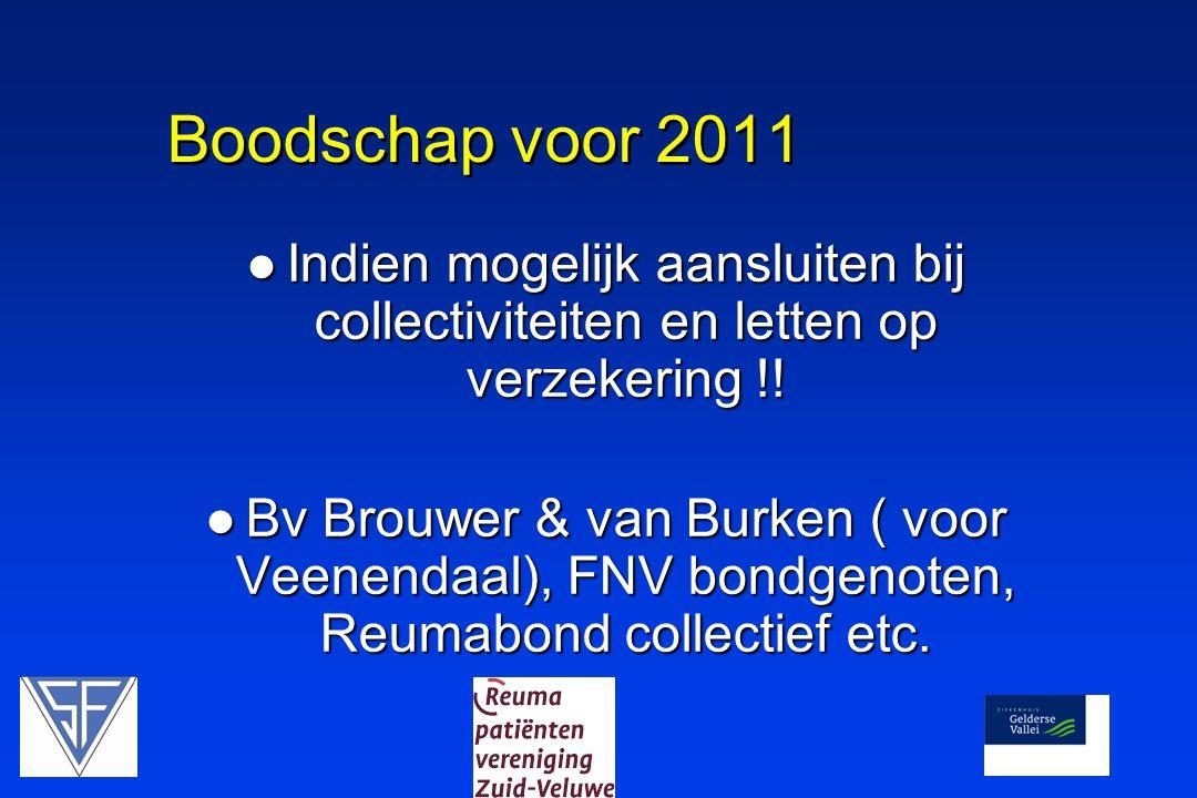 Boodschap voor 2011  Indien mogelijk aansluiten bij collectiviteiten en letten op verzekering !!  Bv Brouwer & van Burken ( voor Veenendaal), FNV bo