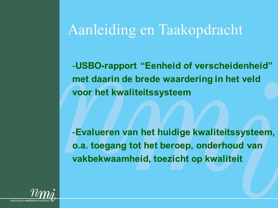 Aanleiding en Taakopdracht -USBO-rapport Eenheid of verscheidenheid met daarin de brede waardering in het veld voor het kwaliteitssysteem -Evalueren van het huidige kwaliteitssysteem, o.a.