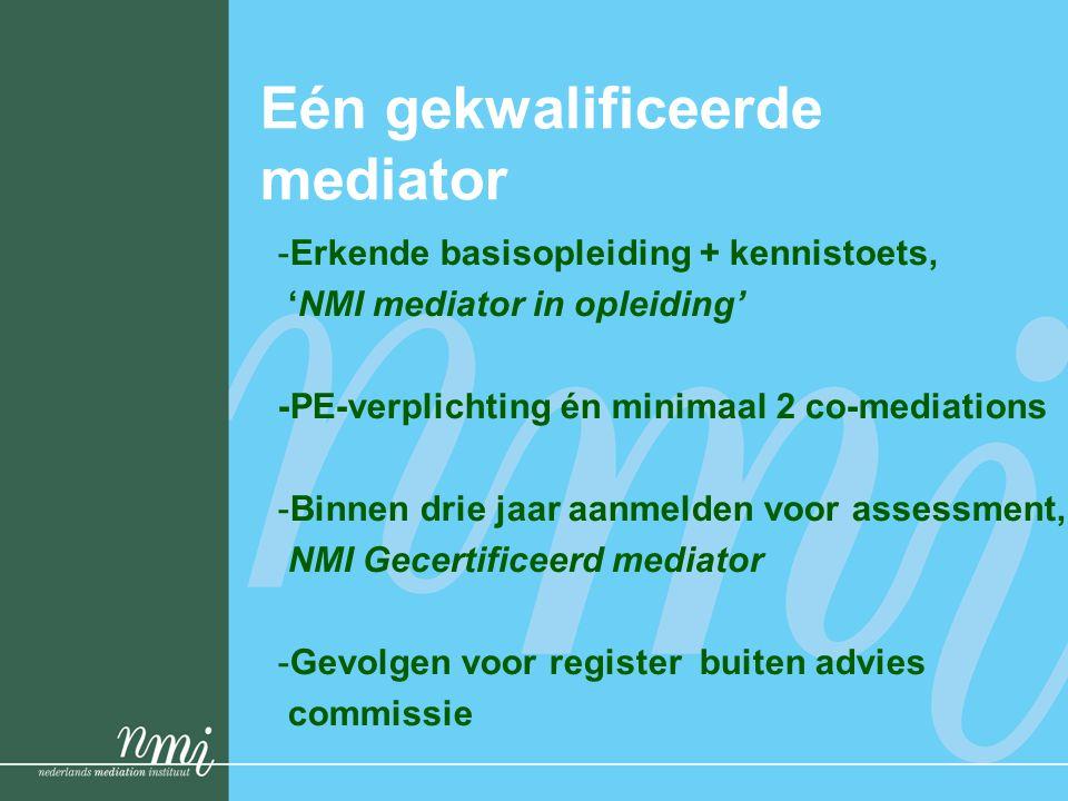 Eén gekwalificeerde mediator -Erkende basisopleiding + kennistoets, 'NMI mediator in opleiding' -PE-verplichting én minimaal 2 co-mediations -Binnen drie jaar aanmelden voor assessment, NMI Gecertificeerd mediator -Gevolgen voor register buiten advies commissie