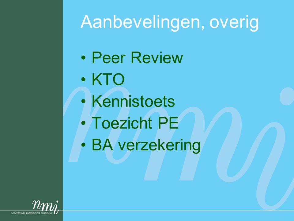 Aanbevelingen, overig •Peer Review •KTO •Kennistoets •Toezicht PE •BA verzekering