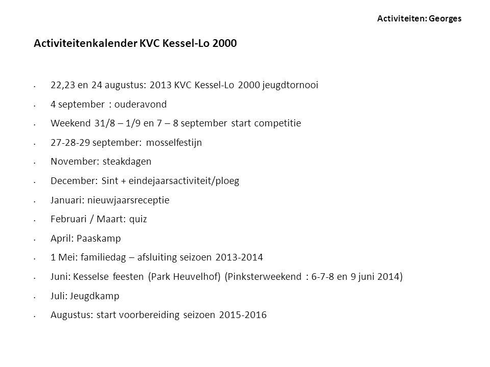 • 22,23 en 24 augustus: 2013 KVC Kessel-Lo 2000 jeugdtornooi • 4 september : ouderavond • Weekend 31/8 – 1/9 en 7 – 8 september start competitie • 27-