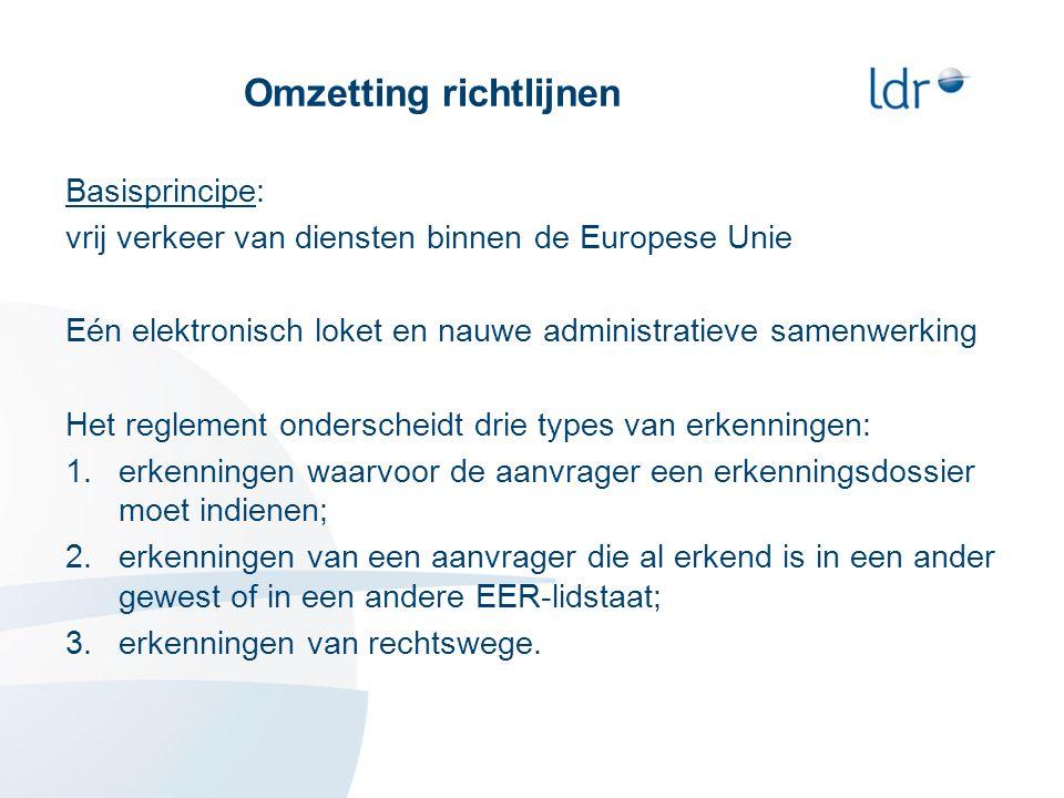 Omzetting richtlijnen Basisprincipe: vrij verkeer van diensten binnen de Europese Unie Eén elektronisch loket en nauwe administratieve samenwerking Het reglement onderscheidt drie types van erkenningen: 1.erkenningen waarvoor de aanvrager een erkenningsdossier moet indienen; 2.erkenningen van een aanvrager die al erkend is in een ander gewest of in een andere EER-lidstaat; 3.erkenningen van rechtswege.