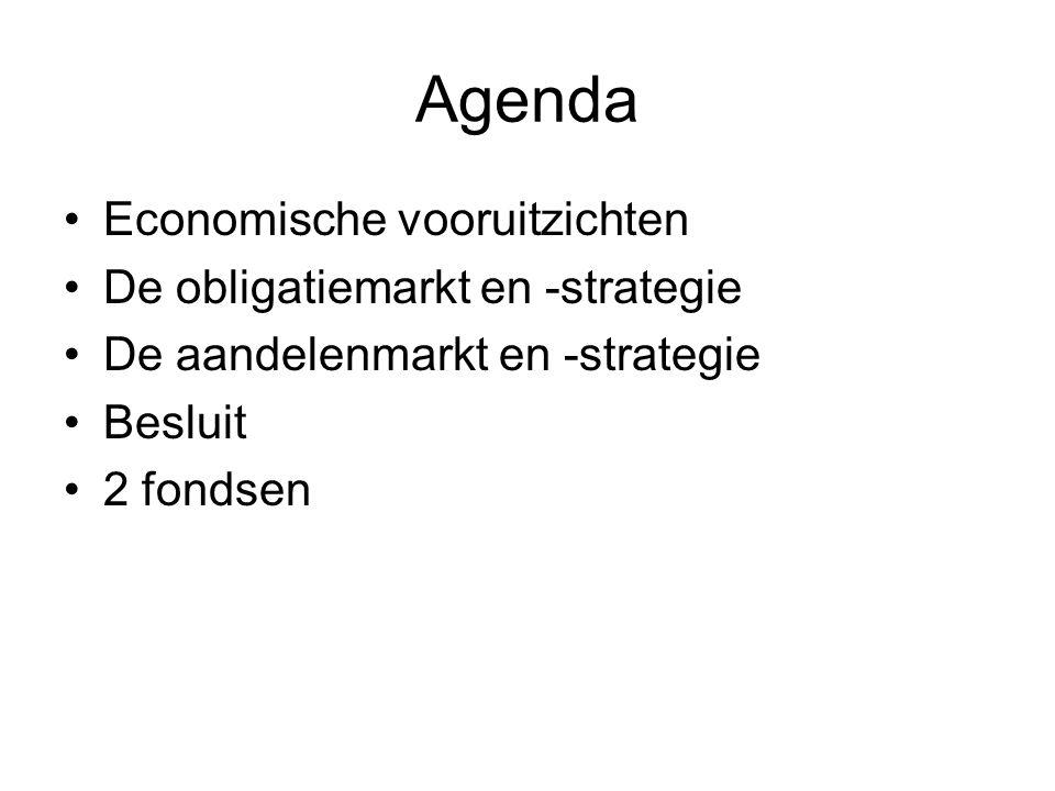 Agenda •Economische vooruitzichten •De obligatiemarkt en -strategie •De aandelenmarkt en -strategie •Besluit •2 fondsen