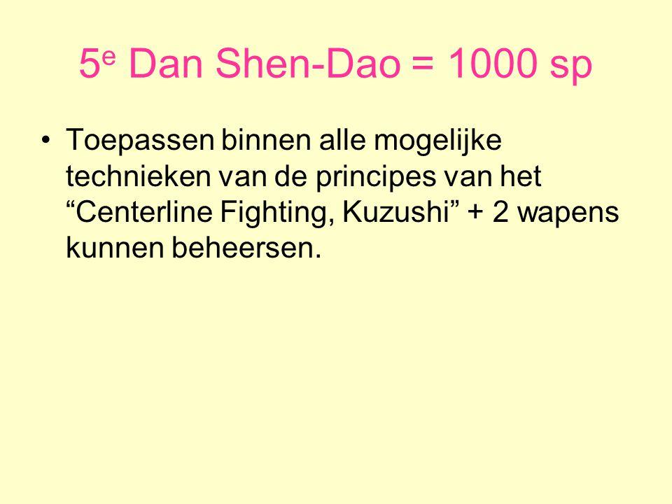 5 e Dan Shen-Dao = 1000 sp •Toepassen binnen alle mogelijke technieken van de principes van het Centerline Fighting, Kuzushi + 2 wapens kunnen beheersen.