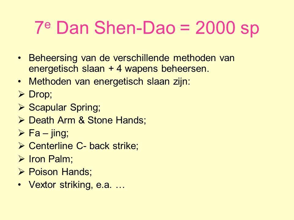 7 e Dan Shen-Dao = 2000 sp •Beheersing van de verschillende methoden van energetisch slaan + 4 wapens beheersen.