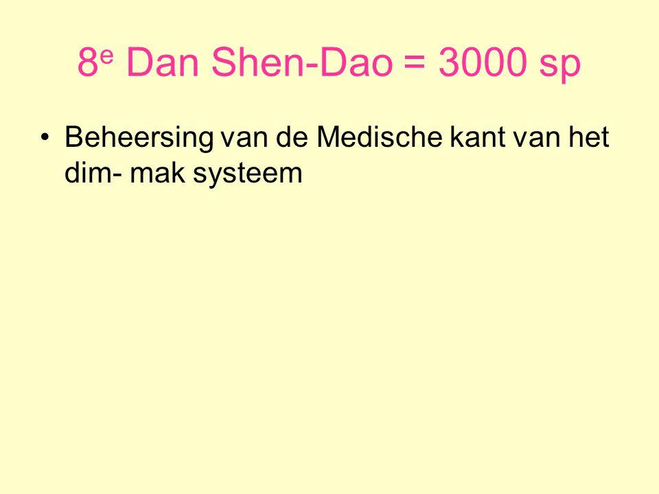 8 e Dan Shen-Dao = 3000 sp •Beheersing van de Medische kant van het dim- mak systeem