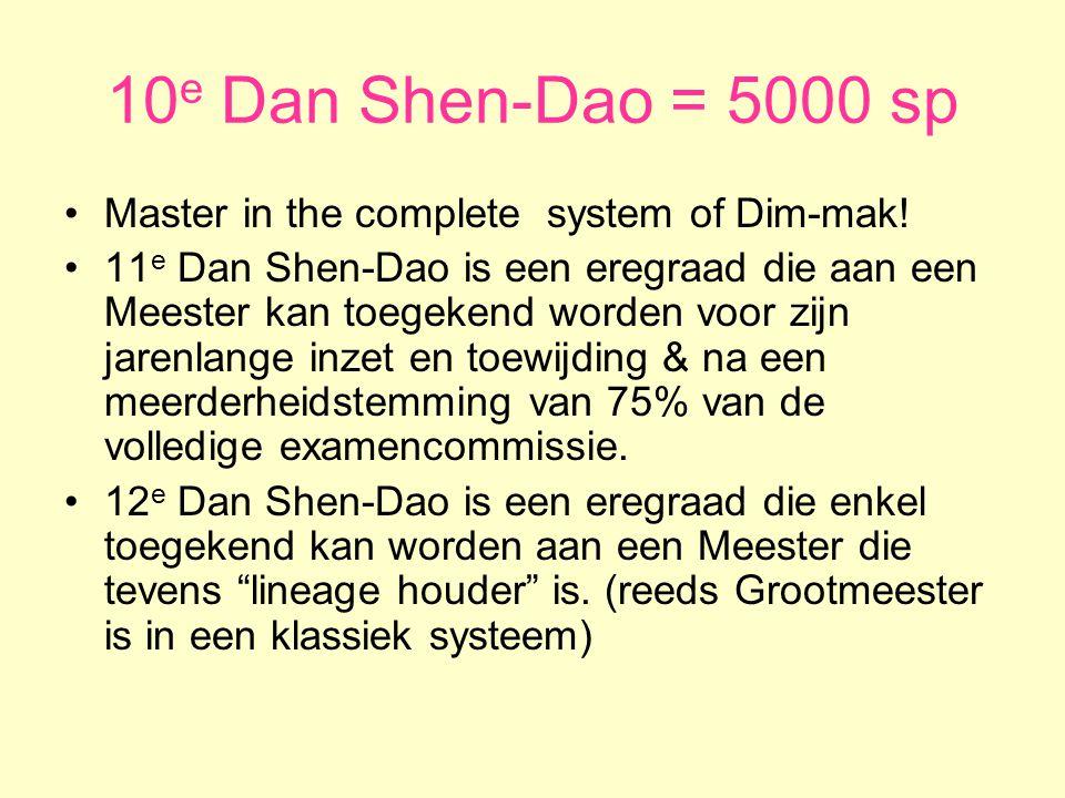 10 e Dan Shen-Dao = 5000 sp •Master in the complete system of Dim-mak.