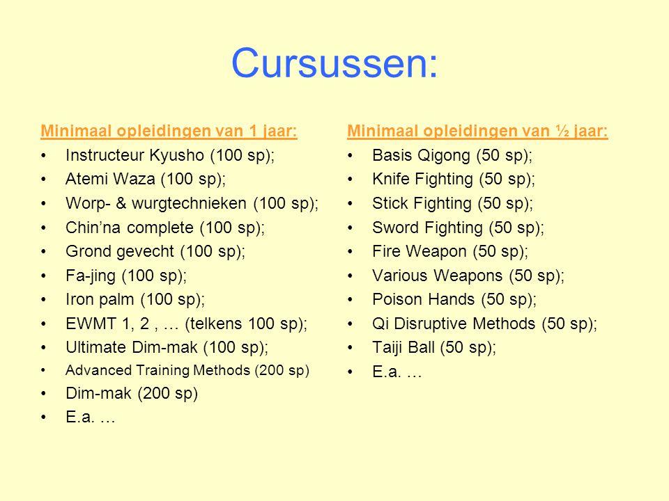 Cursussen: Minimaal opleidingen van 1 jaar: •Instructeur Kyusho (100 sp); •Atemi Waza (100 sp); •Worp- & wurgtechnieken (100 sp); •Chin'na complete (100 sp); •Grond gevecht (100 sp); •Fa-jing (100 sp); •Iron palm (100 sp); •EWMT 1, 2, … (telkens 100 sp); •Ultimate Dim-mak (100 sp); •Advanced Training Methods (200 sp) •Dim-mak (200 sp) •E.a.