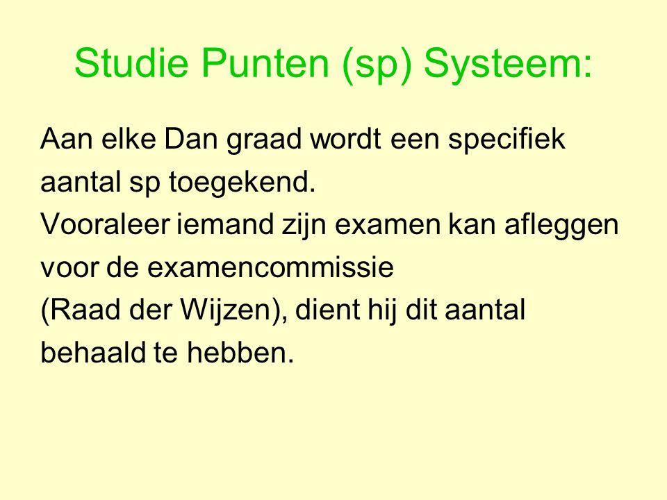 Studie Punten (sp) Systeem: Aan elke Dan graad wordt een specifiek aantal sp toegekend.
