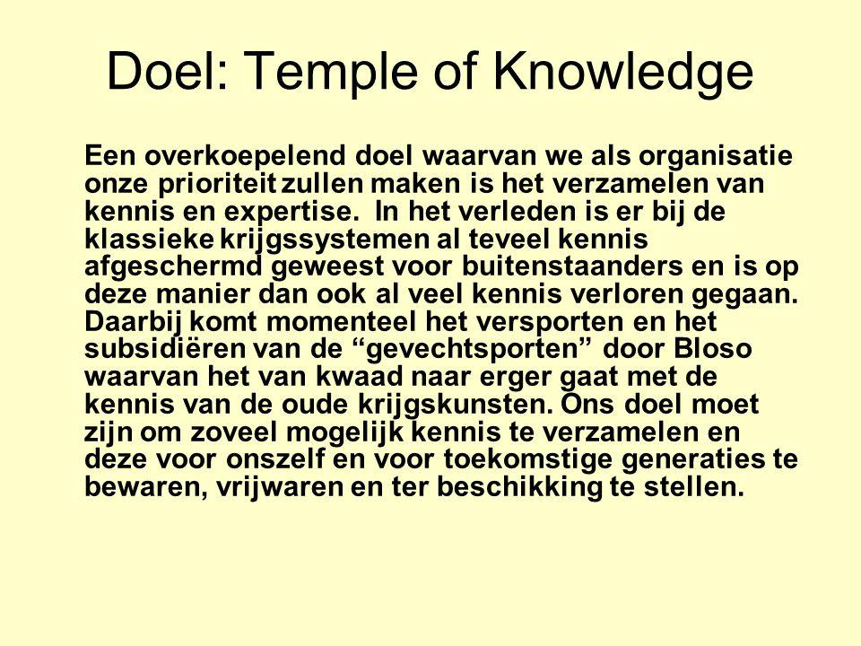 Doel: Temple of Knowledge Een overkoepelend doel waarvan we als organisatie onze prioriteit zullen maken is het verzamelen van kennis en expertise.