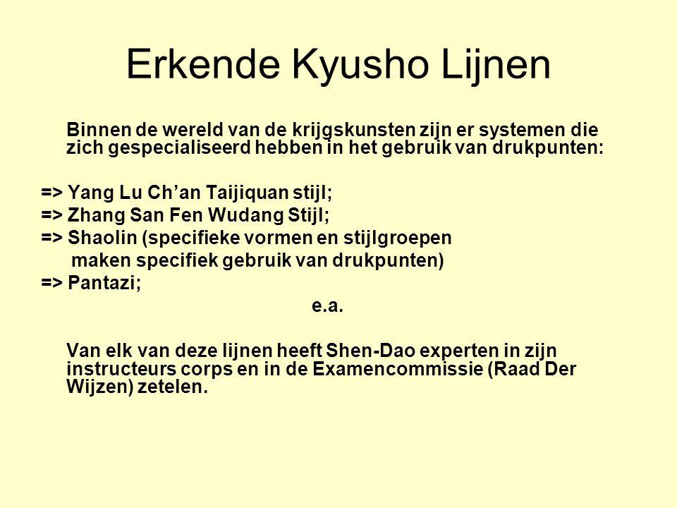 Erkende Kyusho Lijnen Binnen de wereld van de krijgskunsten zijn er systemen die zich gespecialiseerd hebben in het gebruik van drukpunten: => Yang Lu Ch'an Taijiquan stijl; => Zhang San Fen Wudang Stijl; => Shaolin (specifieke vormen en stijlgroepen maken specifiek gebruik van drukpunten) => Pantazi; e.a.