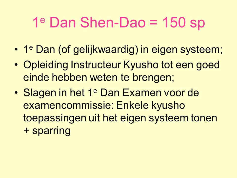 1 e Dan Shen-Dao = 150 sp •1 e Dan (of gelijkwaardig) in eigen systeem; •Opleiding Instructeur Kyusho tot een goed einde hebben weten te brengen; •Slagen in het 1 e Dan Examen voor de examencommissie: Enkele kyusho toepassingen uit het eigen systeem tonen + sparring