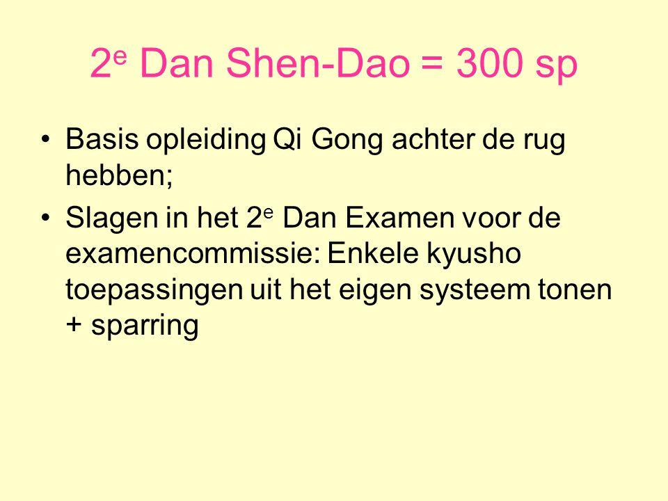 3 e Dan Shen-Dao = 500 sp •Verschillende applicaties van kyusho tonen binnen 2 domeinen vreemd aan het eigen systeem & sparring •Domeinen vreemd aan het eigen systeem kunnen zijn:  Werp technieken;  Wurg technieken;  Atemi Waza;  Klem technieken (Chin'na)  Grondgevecht